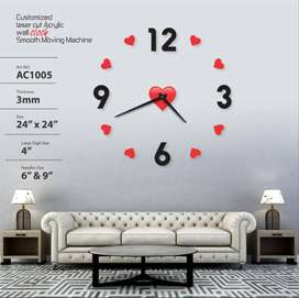 Acrylic Wall Clock Home decoration Number and Red Heart