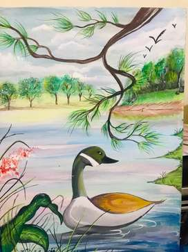 A beautiful duck scene painting