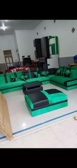 Ready sofa L besar kulit hitam bledro hijau