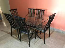 Iron dining table, 6 seats