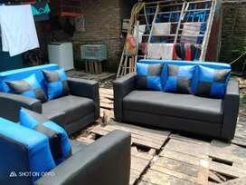 ANUGRAH-FURMITURE,Sofa minimalis biru_hitam 1set 321