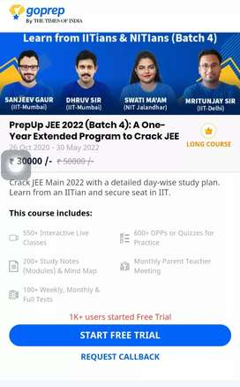 Go Prep course JEE advanced (class 11 and 12)
