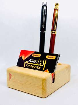 Engraved Your Name & Logo on Wooden Mobile, Visiting card, pen Holder