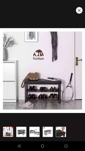 Solid shoe rack wooden and iron mix bench bi hi sath
