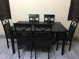 6 seater wooden dining table set by Mintwud brand