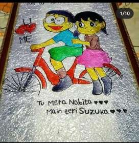 Customised Glass painting and all types of handmade gifts available.