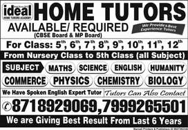 Home Tutor  Avaliable  Online & Offline for all classes & all board