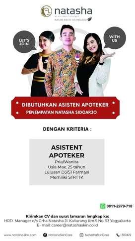 Dibutuhkan Asisten Apoteker untuk Natasha Skin Clinic Center Sidoarjo