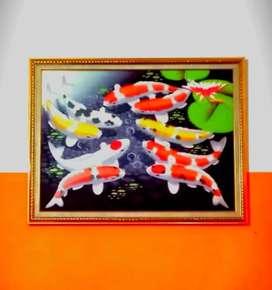Lukisan Ikan Koi 9 Ekor Ukuran 99x69cm