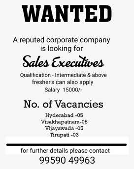 Sales executives required for reputed corporate company