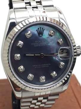 Rolex boysize Bluish kerang Diamonds Stainless steel