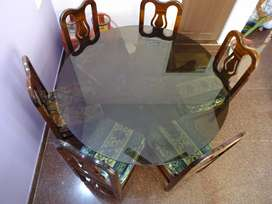 Rosewood dining table with 6 chairs