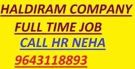 Hiring haldiram company job full time apply in helper store keeper ghf