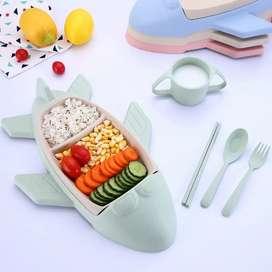 Peralatan Makan Balita Creative Airplane Wheat Straw Set 5 in 1