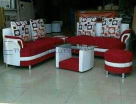 Erafurnitire*sofa AZOLA2+2+2 puff maron-putih+bantal+MEJA