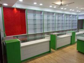Counters and shelfs for shops (wood + glass)