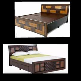 New 5*6 wooden queen storage double cot 7500 mattress 3500