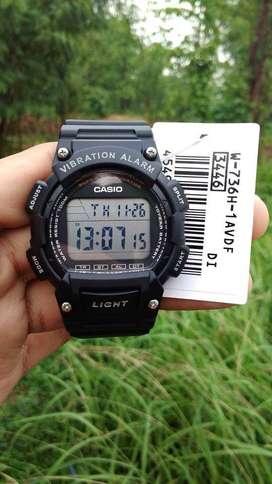 Jam Tangan Casio W-736H Vibration Alarm 10 Tahun Baterai