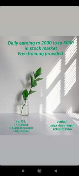 Free training for earn daily rs 2000 to 4000 in stock market -chennai