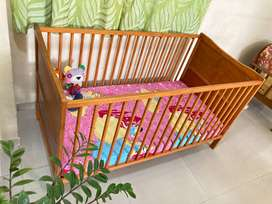 Baby Cot Bed Wooden with Mattress