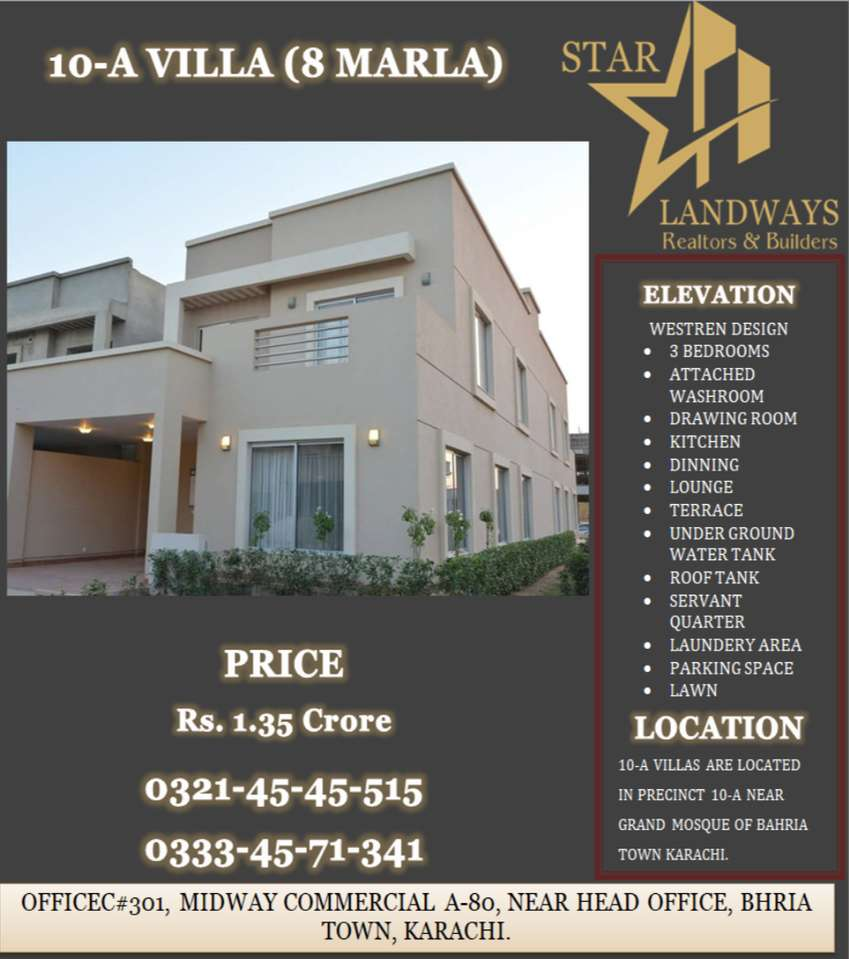8 MARLA BEAUTIFUL WELL DESIGNED P10-A VILLA AVAILABLE FOR SAL 0