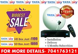Tata Sky Dish Tv Sd/Hd Box With 6 Month Pack Airtel Tatasky Dish