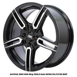 Velg Mobil R15 Lebar 6,5 Inci HSR SAYOSA hitam polish