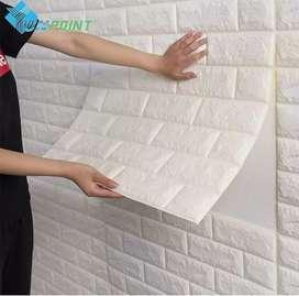 Wallpaper foam 3D bata putih