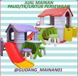 Mainan Indoor Playground Perosotan, Mejakursi Dengan Rumah-rumahan
