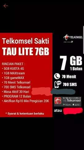 Kartu perdana Kuota Telkomsel 7gb Flash Rp.10 BISA ISI ULANG SENDIRI