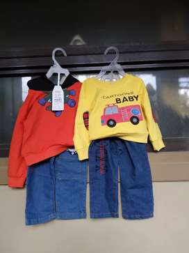 Setelan baju anak laki sweater anak fire car