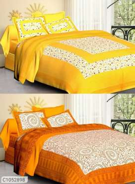 (Buy 1 Get 1 Free) Jaipuri Printed Cotton Double Bedsheets