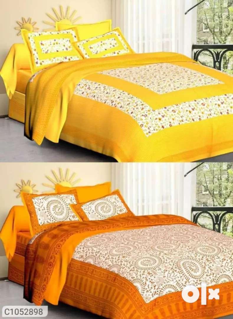 (Buy 1 Get 1 Free) Jaipuri Printed Cotton Double Bedsheets