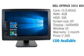 "Dell All in 1 Pc with i3 -3.4Ghz speed /4Gb Ram/500hdd/20""/Cam"