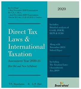 Direct Tax Laws by TR Manoharan AY20-21 latest new one with Int Taxati