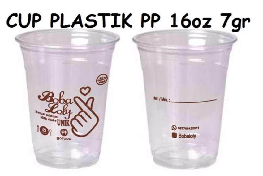 Gelas plastik di cetak/sablon terbaru CUP PP 16oz 7gram 0