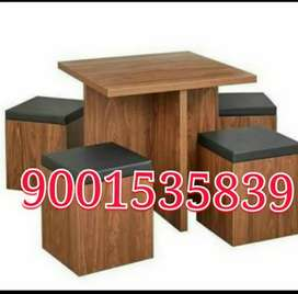 New wooden four seater dining table with stool / restaurant furniture