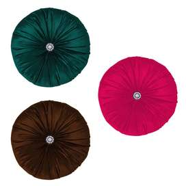 Pack of 3 - 8 Inches Round Filled Cushion,Velvet Cushions,Pleated Roun
