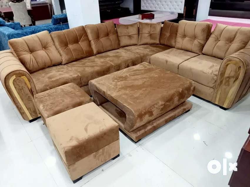 Golden colour l shape sofa