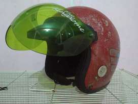 Helm bicycle hat merah jadul