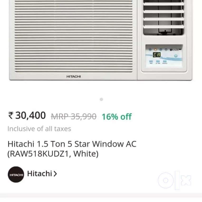 Brand New HITACHI 1.5 TON 5 STAR WINDOW AC 35990 OFFER:23999 0