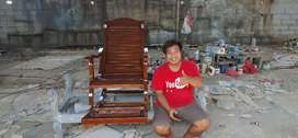Kursi goyang pensiunan elegant, kayu jati, finis natural, free ongkir