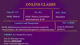Online tuitions for Hindi, History, Management, Mass communication