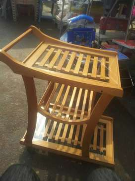 Tea trolley beac hwood and glass designer