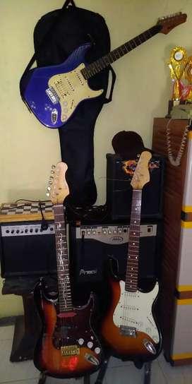 Set 3 gitar ori korea dan Ampli import studio