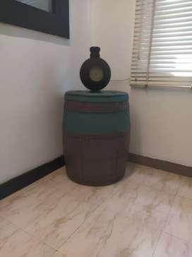 Wine barrel and antique clock