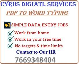 DATA Entry (Offline PDF to MS WORD Typing) Work From Home Jobs.