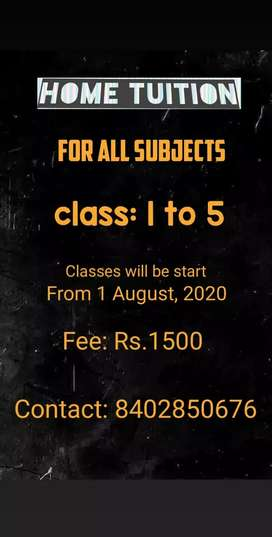 Home classes are available upto class Kg, Nursery, 1 to 7