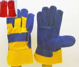 Gym leather gloves working  12 pair Dress Cow split leatehr extra patc