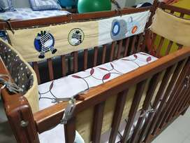 baby wooden bed with railings. Cash only, final price